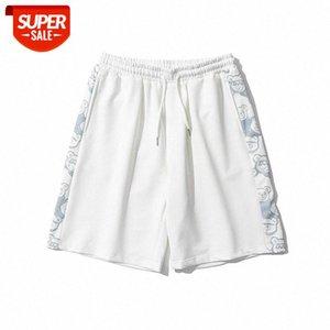 Tide Brand Ins Bear Stampa Cucitura Pantaloncini sportivi Pantaloncini Uomini e donne Giapponese Sciolto Casual Casual Belle coppie Pantaloni a cinque punte # 869p