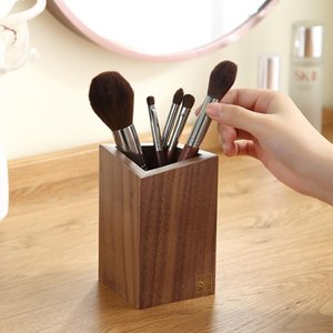 Casegrace Wooden Makeup Brush Storage Box Cosmetic Holder Organizer Tools Jewelry Lipstick Bucket Beauty Desktop Container Case Boxes & Bins