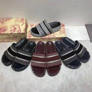 Designer Donne Pantofole in cotone ricamato piattaforma di cotone flip flop lettera tela mulos marca signora sandali estate stilista scarpe stampate pantofola