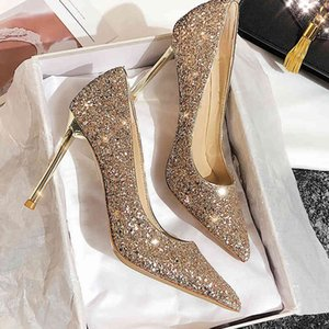 2021 new versatile pointed Silver Crystal Sequin sexy net red wedding shoes bridal JC high women's thin heels