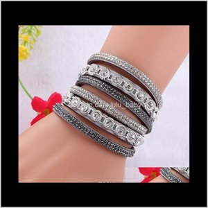 Charm Bracelets Wholesale Sell Europe And The United States Multi-Layer Leather Flannel Inlaid Diamond Bracelet W7Qgk Hmpkx