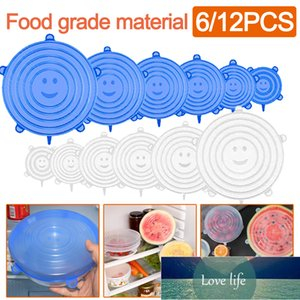 6 Pcs 12 Pcs Set Food Silicone Cover Cap Universal Reusable Silicone Lids For Cookware Bowl Stretch Lids Kitchen Accessories Factory price expert design Quality