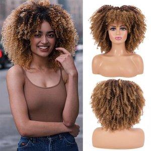 """الباروكات الاصطناعية Leeons Fluffy Afro Kinky مجعد الباروكة 14 """"الشعر القصير مع الانفجارات للنساء السود شقراء مختلطة بني"""