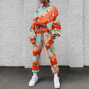 Ladies sweat suits juicy tracksuit autumn and winter fashion printing round neck Pullover Loose Long Sleeve 2 piece sweatsuit sweatpants tra