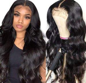 Véritable perruque de dentelle de lacet brésilienne longue perruque pour femmes avec des cheveux longs bouclés 4 * 4 dentelle