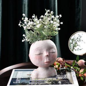 W&G Planters Pots Resin Head Vase Indoor Outdoor Succulent Planter Flower Creative Face Statue Home Garden Decor Sculpture Vases