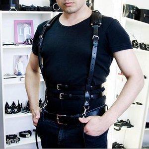 Erotic Leather Harness Punk Belts For Men Lingerie Clubwear Fetish Body Bondage Custome Cage Bdsm Sexy Chest Garter Belt