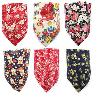 Dog Apparel Flower series Dogs Bandanas Scarves Dogg Kerchiefs Cotton Scarf Adjustable Pet Scarfs Fall Handkerchiefs Bibs
