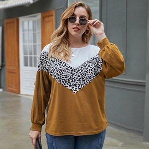 Large Comfortable XL-4XL Luipaard Print 2021 Fashion Extra Loose O-neck T-shirt Plus Size European American Women Clothing