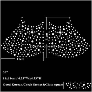 Sewing Notions Tools Apparel Drop Delivery 2021 11X11Cm Fix Rhinestone Iron On Transfer Star With Glass Squares Motif Sticker For Face Mask Q