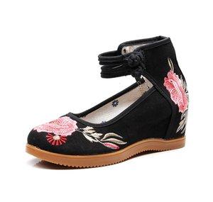 Özel Fiyat Yeni Işlemeli kadın Ulusal Stil Yüksek Topuk Eski Pekin Tek Bez Ayakkabı Toka Jakarlı Kumaş Öküz Tendonu