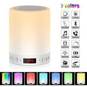 Table Lamps Bluetooth Speaker Lamp, Smart LED Night Light With Alarm Clock 3 Contact Dimmable Modes And 7 Colors