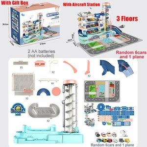 2021 Kinder Parkplatz Spielzeug Set 3 Etagen Garage Baugruppe Elektrische Rail Autos Jungen Pädagogisches Spielzeug Geschenk über 3 Jahre alt C0331