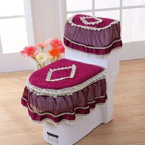 PCS Set Gold Velvet Lace Toilet Seat U-Shaped Coat Home Decoration Bathroom Mat Cover Covers