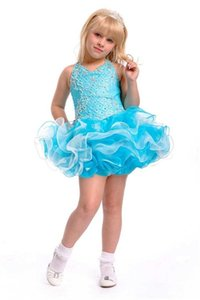 Cupcake Girl's Pageant Dresses with Beaded Zipper Back Birthday Party Formal Gowns Ruffles Organza Short Puffy Flower Girls' Dress