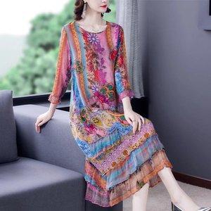 Retro Floral Mulbery Silk Beach Midi Dresses Summer Print M-4XL Plus Size Loose Sundress Women Elegant Party Vestidos Casual