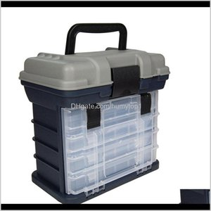 Accessories 4 Layer Fishing Storage Box Movable Lure Bait Hooks Tackle Tool Container With Handle Plastic Organizer Portable Outdoor C F245D