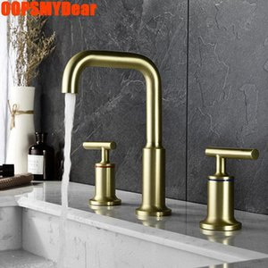 Basin Sink Rose Gold Faucet Bathroom Cold Mixer Tap 3 Hole Deck Mounted Copper Kraan Modern Dual Handle Washbasin Torneiras Faucets