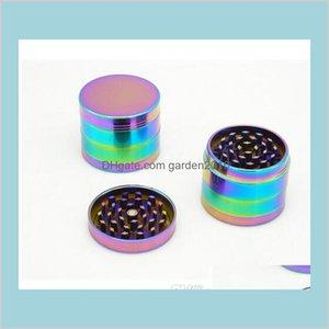 Otros accesorios para fumar Hogar Sundies Home Garden Venta al por mayor Molinillo Hermoso Colores 4 capas Metal 40 50 52 63 mm Spice Cru