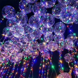 18 inch Handle Led Luminous Transparent Helium Bobo Ballons Wedding Birthday Party Decorations Kids Light Balloon DHL TL0H