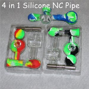 Silicone Nectar Collector Kit Silicon Hand Smoking Pipes hookah Dab Rigs beaker waterpipes glass bong with 14mm titanium nails