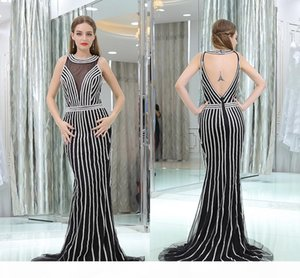 Mermaid Round Neck Party Dresses Newest Beaded Crystal Sexy Backless Party Fitted Prom Dresses Evening Gowns Formal Gown Custom Made HY128