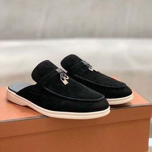 2021 Высококлассный Женский Досуг Плоские Нижние Половина Тапочки Ленивые Льфу Обувь Сандалия Открытый Газон Женщины Baotou Обувь Тапочки 35 42 Бесплатная доставка