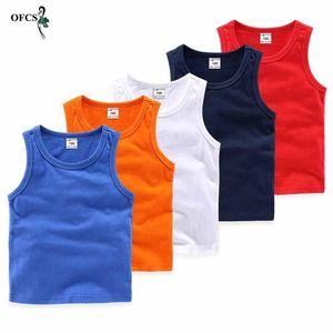 Vest Kids Baby Boys Vests T Shirts Children Summer Toddler Kid Boy Girl Solid Tops Clothes Cotton Tees White Black 10 Color 2-12