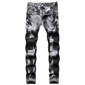Men's Slim Fit Tie Dye Jeans Straight Leg Patchwork Ripped Men Denim Pants Regular Cotton Jean Destroyed Pant Hip Hop Casual Big size Trousers 28-42 YK9251