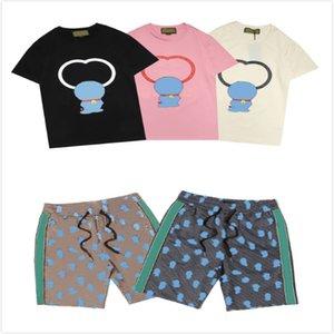 Erkek Karikatür Baskı Yaz Tees + Şort Erkek Moda Takım Elbise Boy Rahat Sokak Tişörtleri Mürettebat Boyun Tee Yüksek Kalite Kısa Pantolon
