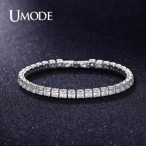 UMODE 2019 New 4mm 5mm 6mm Round Square Zircon Crystal Tennis Bracelet for Women Men White Gold Long Box Chain Jewelry AUB0178AX j7AS#