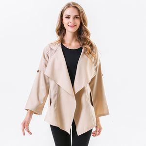 Spring Autumn Fashion Casual Trench Coat Turn Down Collar Women Windbreaker Open Stich Streetwear Solid Coat Abrigo Mujer 6Q1961