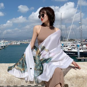Korean Style Spring and Autumn Womens Sunscreen Scarf All-Matching Long Summer Seaside Oversized Beach Towel Dual-Use Shawl