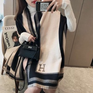 Luxury Brand scarves shawls Korean autumn winter H-letter cashmere like double-sided scarf thickened warm long versatile