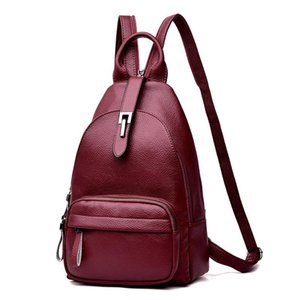 Backpack Women's Bag 2021 Soft Leather Fashion Leisure Chest Dual-purpose