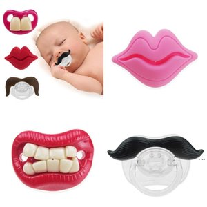 Silicone Pacifier Funny Pacifiers Soothes Beard Teeth Red Lip Nipple Toddler Baby Products 20 Style HWA4723