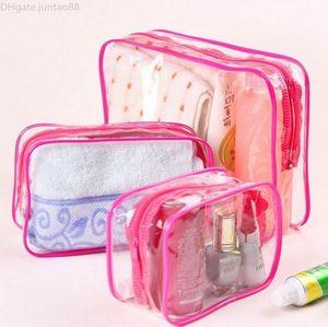 Transparent Cosmetic Bag Bath Wash Clear Makeup Bags Women Zipper Organizer Travel PVC Cosmetic Case Red Blue Yellow HHAa131