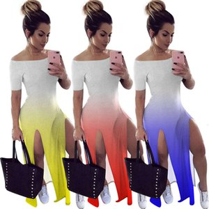 Plus size 2X Summer Women maxi dress trendy gradient one-piece dress designer High Slit Bodycon Dress Off Shoulder hip package skirt 3097