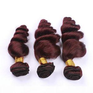 #99J Wine Red Peruvian Virgin Human Hair Weaves Loose Wave Wavy 3Pcs Best Quality Peruvian Burgundy Human Hair Bundles Double Wefted
