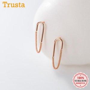 TrustDavis Genuine 925 Sterling Silver Fashion Olipse Charm Charm Stud Pendientes para mujer Boda Día de San Valentín Joyería DB016