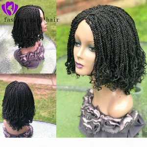 Handtied black brown Blonde Braided Lace Wig short curly braids lace front wig synthetic hair new bob box braids wig for black women