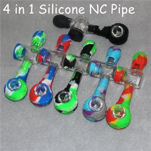4 in 1 Silicone NC Kit Smoking Pipe With GR2 Titanium Nail Tip Concentrate Dab Straw Wax Oil Burner Set Kits