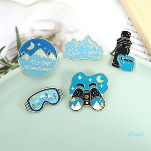 Telescope Blue Enamel Brooches Pin for Women Fashion Dress Coat Shirt Demin Metal Brooch Pins Badges Promotion Gift 2021 New Design