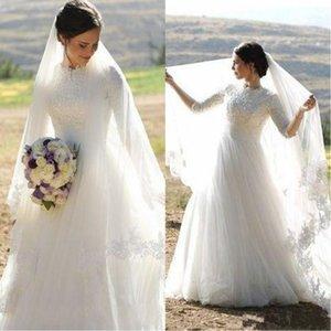 2021 Мусульманские свадебные платья Высокая шея половина рукава Аппликации Сатин Tulle Длина пола плюс размер