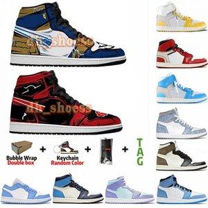 أنيمي مصممين مخصص أحذية jumpman 1 1s جامعة الأزرق hyper رويال ترافيس سكوتس UNC تويست expelian رجل إمرأة الرياضة أحذية رياضية عالية الجودة