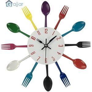 Wall Clocks 2021 Multicolor Home Decoration Cutlery Kitchen Utensil Spoon Fork Clock Drop Feb21
