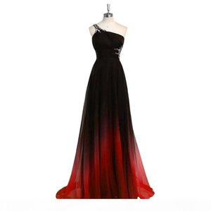 2019 Newest Colorful Chiffon Long Gradient Evening Dresses With Floor-length Beaded Crystals Ombre Formal Prom Party Gown Vestido Longo AL29
