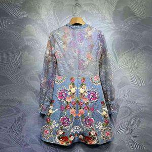 vestido azul seqiny ed vintage verano diseño de moda femenino pista de alta calidad ganchillo ganchillo jacquard impresión flores