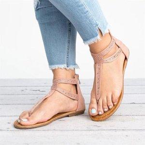 Летние женщины сандалии плоские каблуки Bling платформа твердая молния повседневная досуг пляж снаружи женские женские ботинки Zapatos de Mujer
