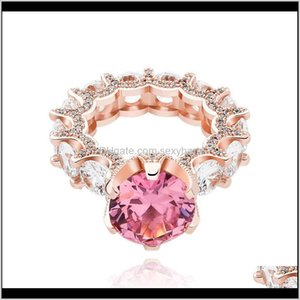 Cluster Drop Delivery 2021 Hip Hop Claw Set Round Cubic Zirconia Rings Ladies 1 Row Cz Bling Iced Out Finger Ring For Women Charm Rock Jewelr